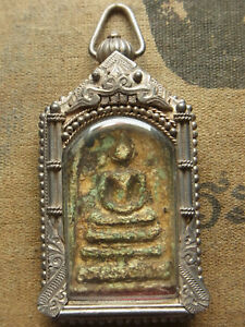 Somdej Toh made and blessed Wat Rakhang Buddha Amulet rare si keaw Silver case