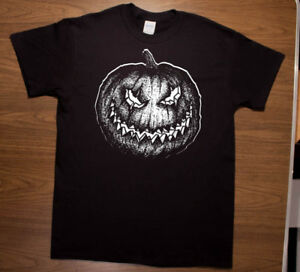 Halloween Pumpkin Occult Folklore Black Metal T Shirt by Mike Vivisector $15.00