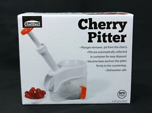 NIB Chef Elect Plunger Style Cherry Pitter w/ Vacuum Base, White, NEW, Kitchen