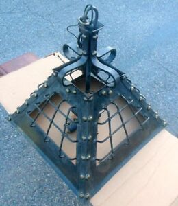 Antique SHIPS Light Fixture Iron Brass Studs MARITIME Sea Industrial Loft $1785.00