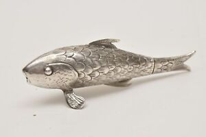 Polish Silver Fish-shaped Spice Container 19th century. The tail could be opene