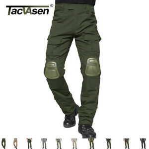 TACVASEN Mens Tactical Army Combat Pants Military Camouflage Trouser W Knee Pad