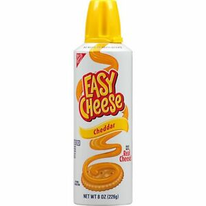NEW NABISCO EASY CHEESE CHEDDAR CHEESE 8 OZ CAN NO NEED TO REFRIGERATE SNACK BUY