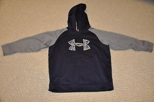 Boy's Under Armour Pull Over Hoodie Sweatshirt Youth XL (GrayNavy Sweatshirt)