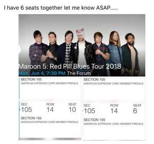 2 Tickets Maroon 5 6418 L.A. Forum Section 105 Row 14 Plus Free CD