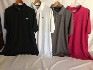 4 MEN'S Under Armour LOOSE Fit Heat Gear Golf Polo Casual Shirts 3-Lg 1-XL