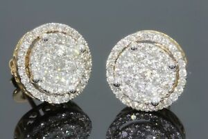 Men's & Women's Yellow Gold Finish 1.50 CT Diamond Micro Pave Earrings Studs