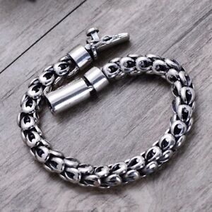 men's solid 925 Sterling Silver Retro Dragon Scale biker bracelet jewelry S1621