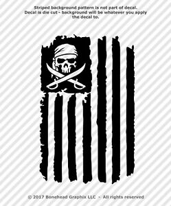 Pirate Skull Distressed Flag Grunge Jolly Roger Vinyl Decal Sticker 25 Colors