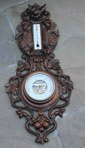 Antique French Carved Oak BLACK FOREST Barometer Thermometer Dog Pheasants LARGE