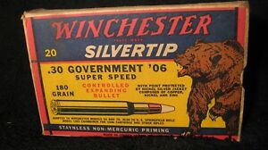 Vintage 1900's Winchester .30-06 Silvertip Government Ammo Box  Bear logo