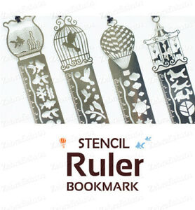 3-in-1 Metal Stencil Ruler Bookmark  - Quick Shipping! Bullet Journal Tool