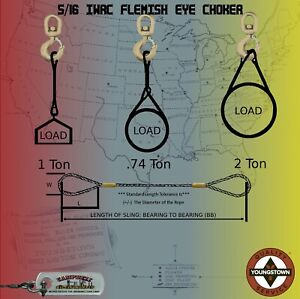 """Choker Sling Wire Rope Steel Cable 5 16"""" x 2#x27; IWRC Flemish Eye Lifting Rigging"""