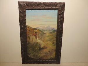 20x12 org. 1934 oil painting on wood by Daniel Morales of