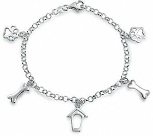 925 Silver Dog Charms Paw Print Bone Doghouse Bracelet 7.5 inches For Women New