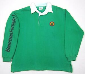 VTG 90S UNITED COLORS OF BENETTON FORMULA ONE RUGBY SHIRT XL RACING SPORT POLO