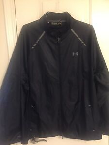 NWT $99 Retail Under Armour 2XL WINDBREAKER Jacket Black Loose