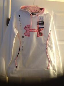 $64.99 NEW Tag NWT Size S UNDER ARMOUR WOMENS White HOODIE Pink CAMO SWEATSHIRT