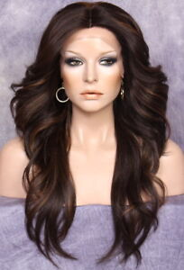 Human Hair Blend Swiss Full Lace Front Wig Long Brown Mix Layered Wavy Heat OK $79.95