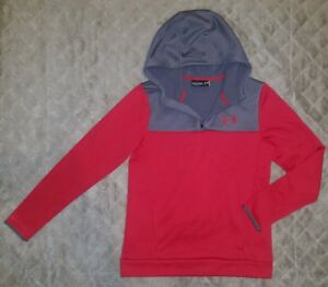 Boys Under Armour Red Gray Soft Lined Pullover Sweatshirt Size Youth XL YXL EUC