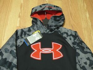 UNDER ARMOUR CAMO SLIP-OVER HOODIE BLACKGRAYRED Size YXSMALL 1249149-001NWT