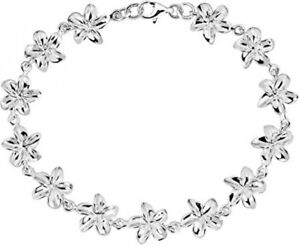 925 Sterling Silver Pretty Hawaiian Plumeria Link Bracelet For Women 7.75 inches