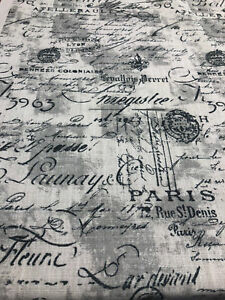 Eiffel black Linen French Script Paris upholstery Fabric By the yard
