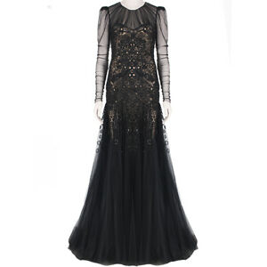 Alexander McQueen Black Nude Intricately Beaded Full Length Dress Gown IT40 UK8