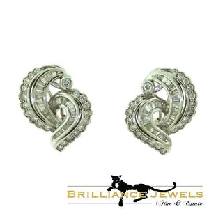 Gorgeous MBV Signed Round and Baguette Diamond Swirl Cocktail Earrings 1940's