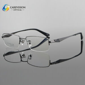 US Stock Designer Pure Titanium Eyeglasses Frames Men's Half Rimless Glasses New