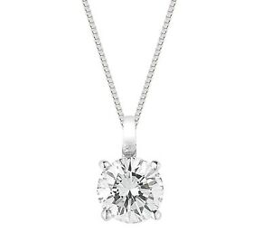 1 Ct Solitaire Round Diamond Pendant Necklace 6MM with Chain 14k White Gold
