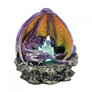 NEW Gothic Gifts Decor Purple Dragon on Stone Light up Crystals Fantasy Figurine