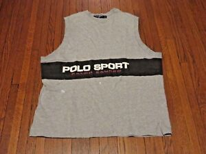 Men's VTG 90's Polo Sport Ralph Lauren Spell Out Grey Sleeveless T-Shirt sz XL