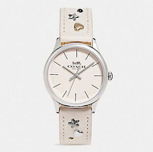 COACH WOMEN'S W1550 RUBY LEATHER STRAP WATCH WITH STUD BRACELET W1552 NWT Box