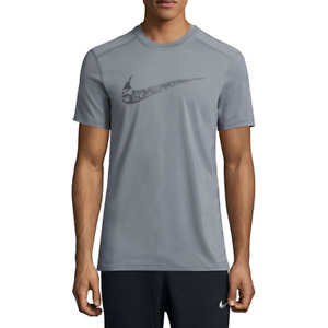 Nike DRY  Fitted Training Shirt Gray Digital Camo Swoosh Large New Gym Dri-Fit