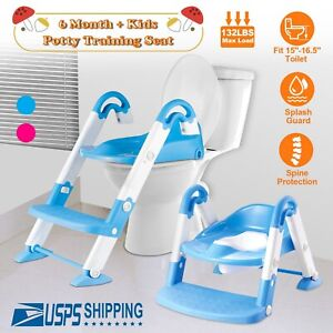 Trainer Toilet Potty Seat Chair Kids Toddler With Ladder Step Up Training Stool $30.29