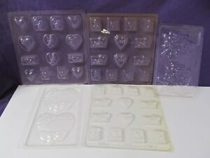Valentine Heart Rose Love chocolate candy molds Lot of 5