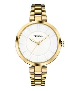 Bulova Women's 97L142 Quartz White Dial Gold-Tone Bracelet 38mm Bracelet Watch