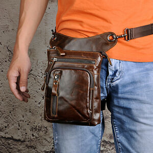 Men Real Leather Drop Leg Belt Bag Motorcyle Rider Travel Hip Waist Fanny Pack