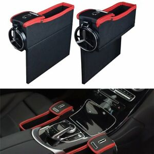 Car Accessory Seat Seam Storage Box Car Seat Organizer Driver Side Cup Holder US