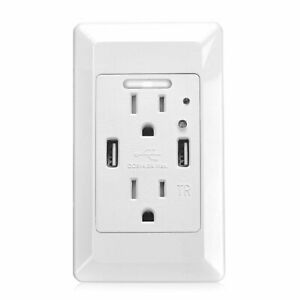 2 USB Ports 4.2A Smart Fast Charging Socket Wall Outlet with LED Night Light