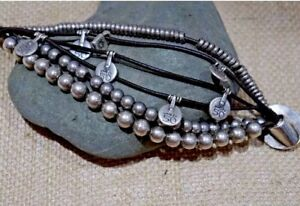 Uno de 50 Silver and Black Leather Multistrand Bracelet with Lock Charm