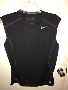 Nike Pro Combat Sleeveless Dry Fit Mens T-Shirt Fitted Logo Athletic Size Large