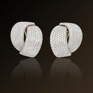 Pave Set Statement Stud Cocktail Party Women Earrings 925 Sterling Silver Cz New