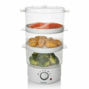 3 Tier Food Steamer Cooker Electric Vegetable Compact Kitchen Large 7.2L