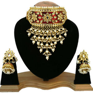 Bridal Wedding Designer Gold Plated Jewelery Choker Necklace Set For WomenGirls