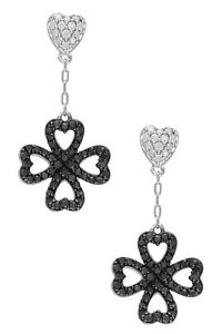 Black Flower Cocktail Party Dangle Women Earrings 925 Sterling Silver Cz Gift Nw
