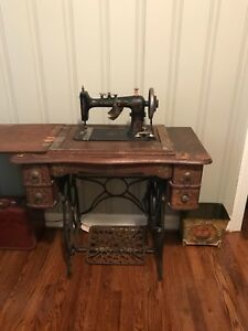 Antique Sewing Machine Black Gold Ornate Wooden Cabinet $495.00