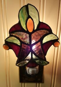Floral Stained Glass Night Light Wall Plug In Kitchen Bedroom Bathroom