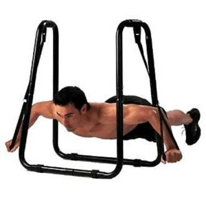 Heavy Duty X-Factor Dip Station Dip Bar Fitness Strength Training Stand W Straps